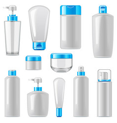 cosmetic packaging icons set 12 vector image