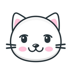 cute cartoon cat face icon on white background vector image