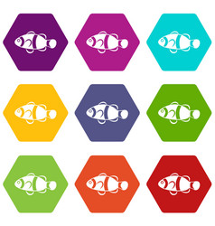 cute clown fish icon set color hexahedron vector image