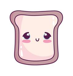 cute food bread sweet dessert kawaii cartoon vector image