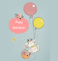 Cute mouse with balloons vector