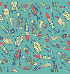cyan pattern with fishes in a chaotic manner vector image