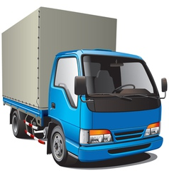 Detailed image of small blue truck isolated on whi vector