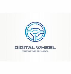digital steer wheel creative symbol concept vector image