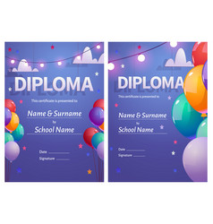 Diploma for kids with colorful balloons vector