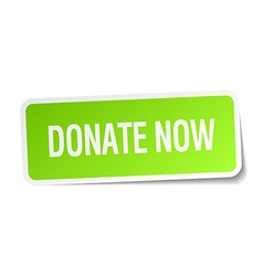 Donate now green square sticker on white vector