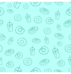 Donut and milkshake seamless background vector image