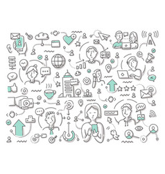 doodle social networking vector image
