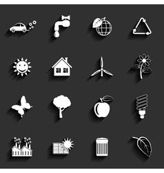 Ecology flat icons set vector image