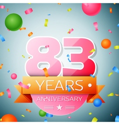 Eighty three years anniversary celebration vector image