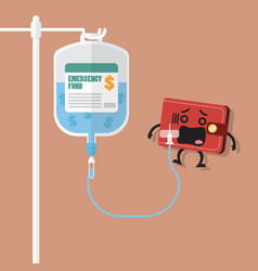 Emergency fund in saline bag with wallet character vector
