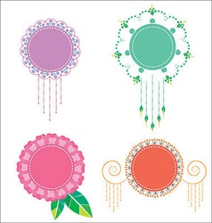 Floral label pastel VS vector