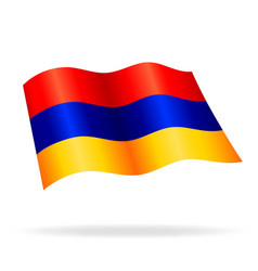 Flying waving armenian flag vector