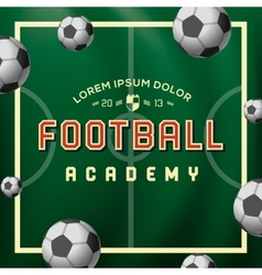 football academy soccer ball on field vector image