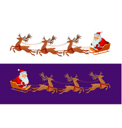 funny santa claus is riding in a sleigh christmas vector image