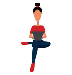 girl in red t-shirt blue pants and red shoes vector image