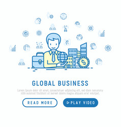 Global business concept man with planet in hand vector