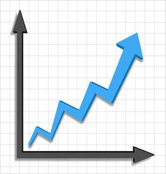 Growth progress blue arrow graph vector image