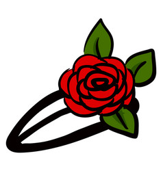 hairpin with rose on white background vector image