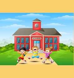happy school children jumping in front of school b vector image
