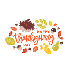 happy thanksgiving day handwritten with cursive vector image