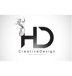 Hd letter logo design with black smoke vector