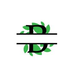 initial b green leaf monogram split letter vector image