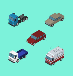 Isometric automobile set of lorry first-aid car vector