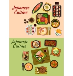Japanese cuisine seafood dinners icon vector