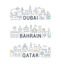 Linear banners dubai bahrain qatar vector