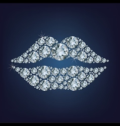 Lips shape made up a lot of diamond vector