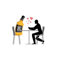 Lover alcohol drink man and bottle of whiskey in vector