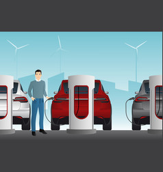 Man with electric car vector