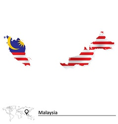 Map of Malaysia with flag vector image