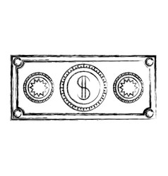 Monochrome blurred silhouette of money bill icon vector