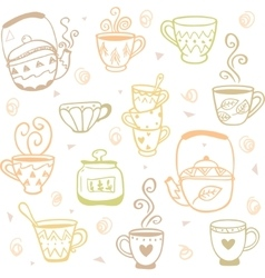mugs kettles pattern vector image