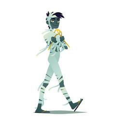 Mummy boy halloween character vector