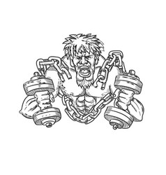 Muscular male with dumbbells breaking free from vector
