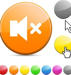 Mute glossy button vector image