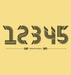 numbers polynesian style in a set12345 vector image
