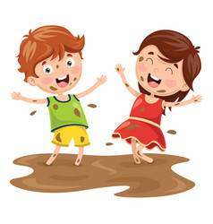 Of kids playing in mud vector