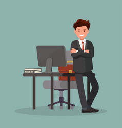 office worker man near the desktop vector image