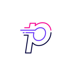 P letter dash lowercase tech digital fast quick vector