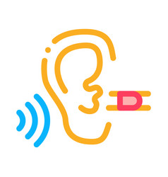 perfect hearing icon outline vector image