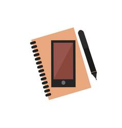 planner notebook phone vector image