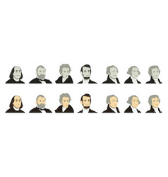 Portraits of us presidents and famous politicians vector