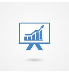 Presentation icon with a bar graph vector