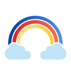 Rainbow in clouds flat icon sky color icons in vector
