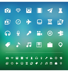 Retina travel and entertainment icon set vector image