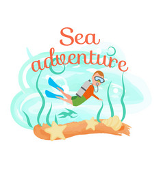 Sea adventure diving man in snorkeling equipment vector